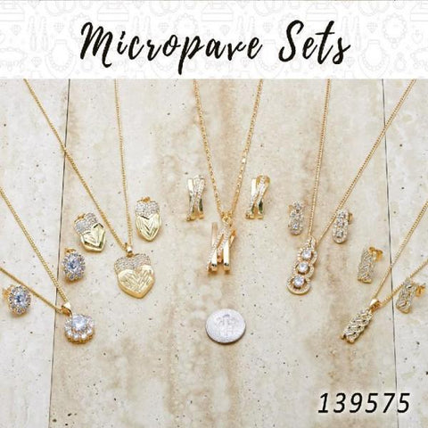 15 Micropave Earring,Pendant, Necklace Sets in Gold Layered ($6.67) ea