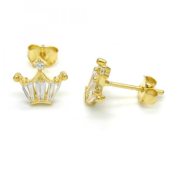 Sterling Silver 02.285.0073 Stud Earring, Crown Design, with White Cubic Zirconia, Polished Finish, Golden Tone