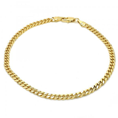 Gold Layered 04.63.1360.10 Basic Anklet, Miami Cuban Design, Polished Finish, Golden Tone