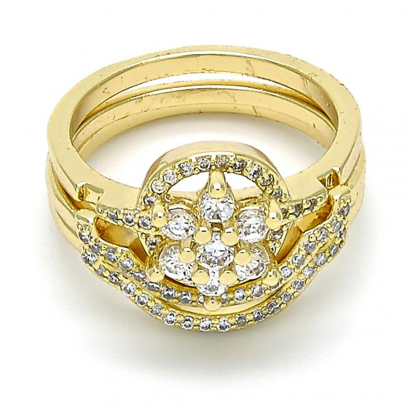 Gold Layered Wedding Ring, Flower and Triple Design, with Cubic Zirconia and Micro Pave, Golden Tone