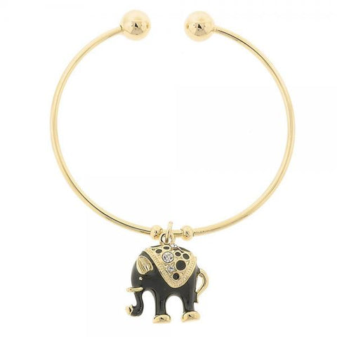 Gold Layered Individual Bangle, Elephant and Ball Design, with Crystal, Golden Tone