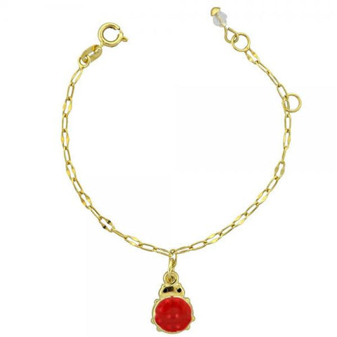 Gold Layered 03.16.0004 Charm Bracelet, Ladybug Design, Enamel Finish, Golden Tone