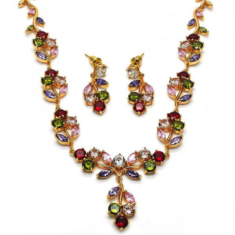 Gold Layered 06.205.0023 Necklace and Earring, Cherry Design, with Multicolor Cubic Zirconia, Polished Finish, Golden Tone