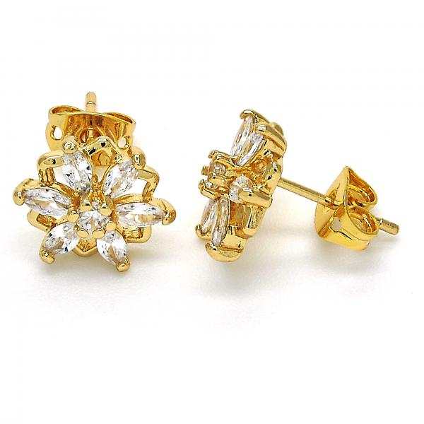 Gold Layered 02.213.0128 Stud Earring, Flower Design, with White Cubic Zirconia, Polished Finish, Golden Tone