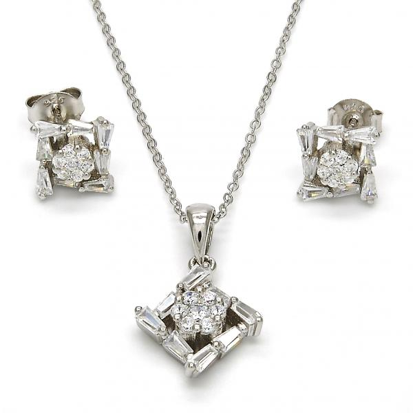 Sterling Silver 10.286.0022 Earring and Pendant Adult Set, with White Cubic Zirconia, Polished Finish, Rhodium Tone