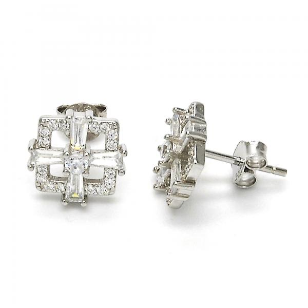 Sterling Silver 02.175.0116 Stud Earring, with White Cubic Zirconia, Polished Finish, Rhodium Tone