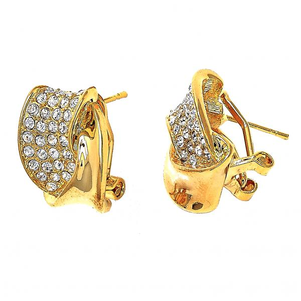 Gold Layered Stud Earring, Twist Design, with Crystal, Golden Tone