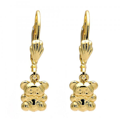 Gold Layered 5.123.031 Dangle Earring, Teddy Bear Design, Diamond Cutting Finish, Golden Tone