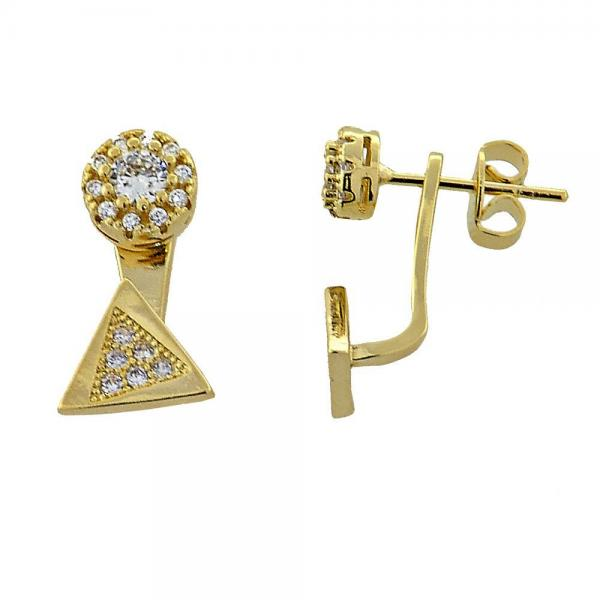 Gold Layered 02.199.0001 Stud Earring, Flower Design, with White Micro Pave, Polished Finish, Golden Tone