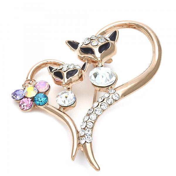 Gold Layered 13.181.0021 Basic Brooche, Cat and Heart Design, with Multicolor Crystal, Polished Finish, Golden Tone