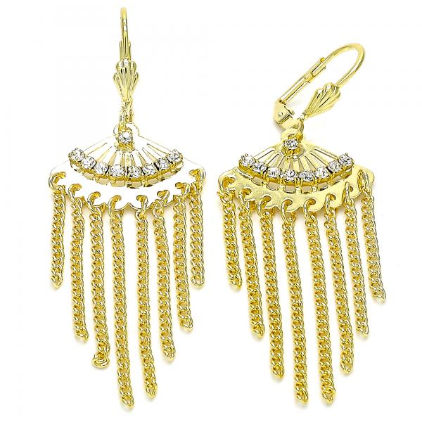 Gold Layered 02.270.0042 Long Earring, with White Crystal, Polished Finish, Golden Tone