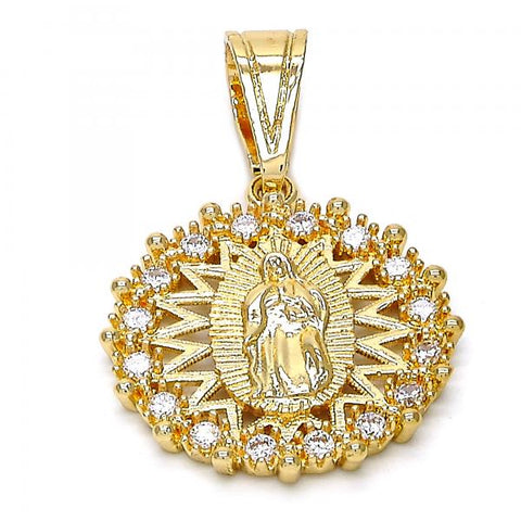 Gold Layered 05.120.0028 Religious Pendant, Guadalupe Design, with White Cubic Zirconia, Polished Finish, Golden Tone