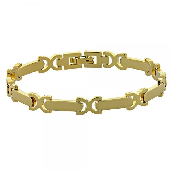 Gold Layered 03.118.0001 Solid Bracelet, Hugs and Kisses Design, Polished Finish, Golden Tone