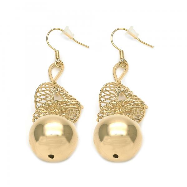 Gold Layered 02.182.0015 Long Earring, Ball Design, Golden Tone