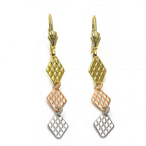 Gold Layered 02.63.2179 Long Earring, Diamond Cutting Finish, Tri Tone