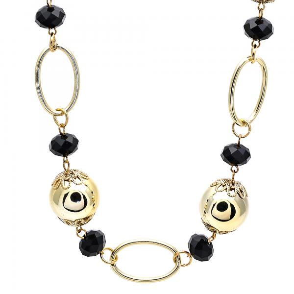 Gold Layered 04.321.0008.40 Fancy Necklace, Ball Design, with Black Crystal, Polished Finish, Golden Tone