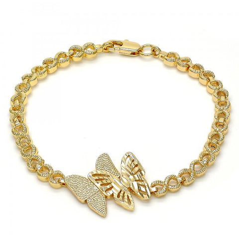 Gold Tone 03.192.0023.08.GT Fancy Bracelet, Butterfly and Infinite Design, Diamond Cutting Finish, Golden Tone
