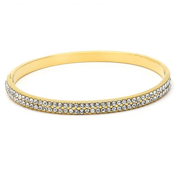 Gold Layered 07.161.0006 Individual Bangle, with White Crystal, Polished Finish, Golden Tone