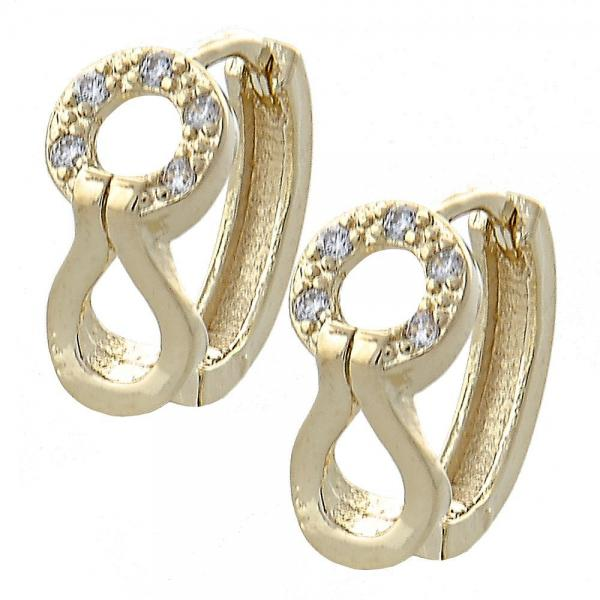 Gold Layered 02.155.0025 Huggie Hoop, with White Micro Pave, Polished Finish, Golden Tone