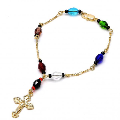 Gold Plated 03.08.0138.08 Fancy Bracelet, Crucifix Design, with Black Azavache, Multicolor Resin Finish, Golden Tone