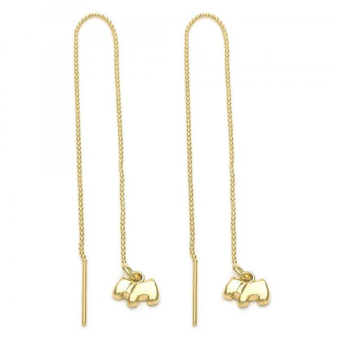 Gold Layered 5.117.009 Threader Earring, Dog Design, Golden Tone