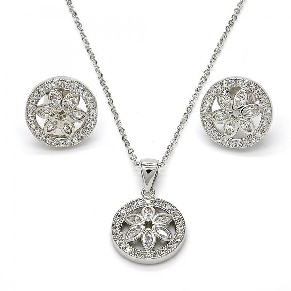 Sterling Silver 10.174.0239 Earring and Pendant Adult Set, Flower Design, with White Micro Pave and White Cubic Zirconia, Polished Finish, Rhodium Tone