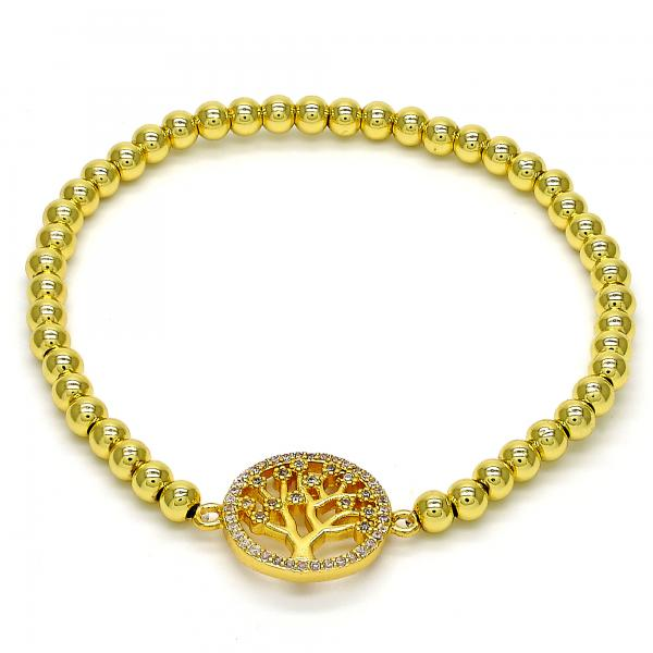 Gold Tone 03.207.0022.07.GT Fancy Bracelet, with White Micro Pave, Polished Finish, Golden Tone