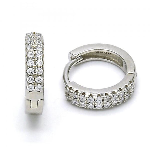 Sterling Silver 02.175.0071.15 Huggie Hoop, with White Crystal, Polished Finish, Rhodium Tone