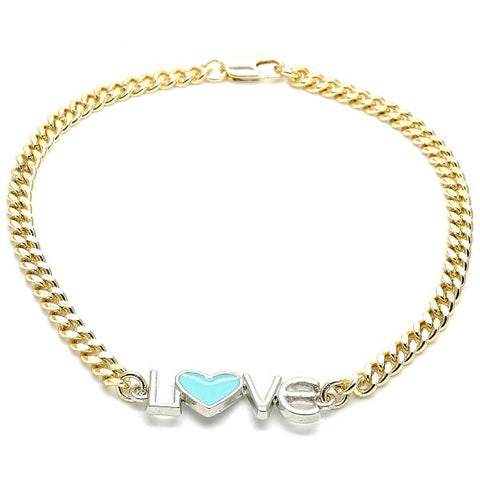 Gold Layered 03.63.1858.10 Fancy Anklet, Love and Heart Design, Turquoise Enamel Finish, Two Tone