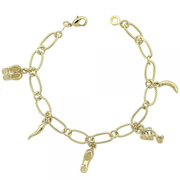 Gold Layered 5.019.008 Charm Bracelet, Shoes and Fish Design, Diamond Cutting Finish, Golden Tone