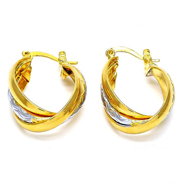 Gold Layered 02.170.0090.18 Small Hoop, Polished Finish, Two Tone
