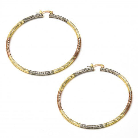 Gold Plated 02.70.0026.65 Extra Large Hoop, Diamond Cutting Finish, Tri Tone