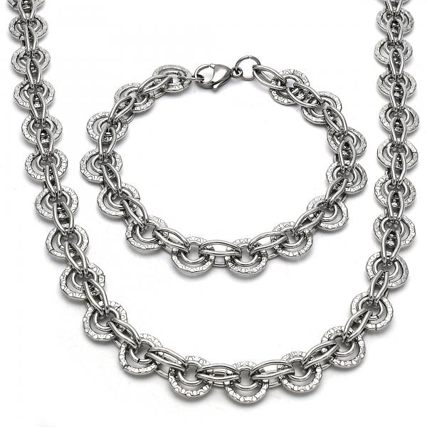 Stainless Steel 06.289.0012 Necklace and Bracelet, Polished Finish, Steel Tone