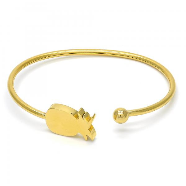 Stainless Steel 07.265.0012 Individual Bangle, Pineapple Design, Polished Finish, Golden Tone (03 MM Thickness, One size fits all)