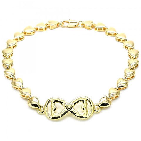 Gold Layered 03.63.1856.10 Fancy Anklet, Infinite and Heart Design, Polished Finish, Golden Tone