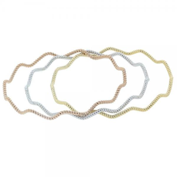 Gold Layered 5.231.002.06 Trio Bangle, Diamond Cutting Finish, Tri Tone