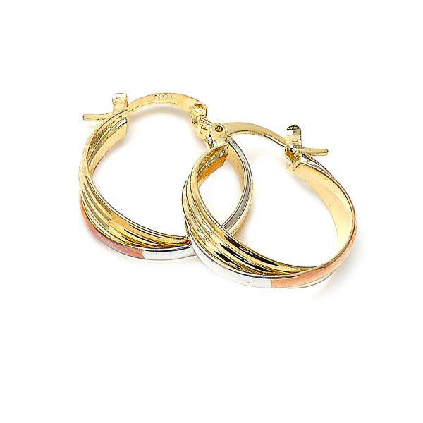 Gold Layered 5.142.011 Small Hoop, Twist Design, Matte Finish, Tri Tone