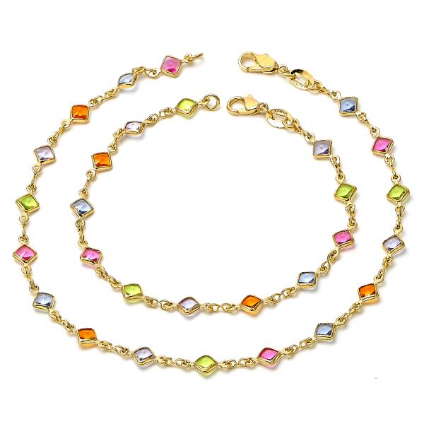 Gold Layered 04.63.1231 Necklace and Anklet, with Multicolor Crystal, Polished Finish, Golden Tone
