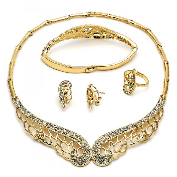 Gold Layered 06.288.0010 Necklace, Bracelet, Earring and Ring, with White Crystal, Polished Finish, Golden Tone