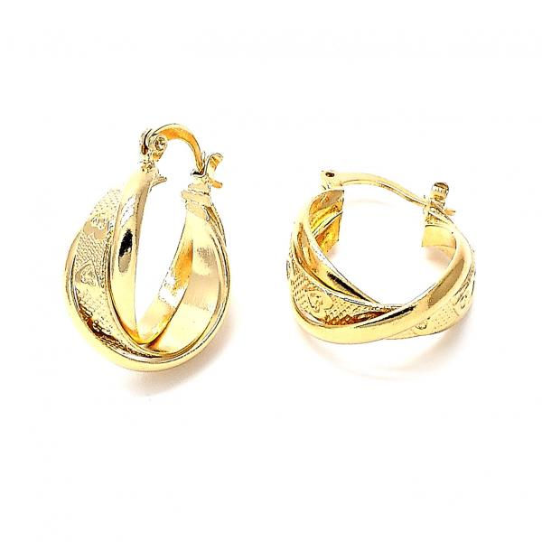 Gold Layered 5.142.019 Small Hoop, Heart and Infinite Design, Diamond Cutting Finish, Golden Tone