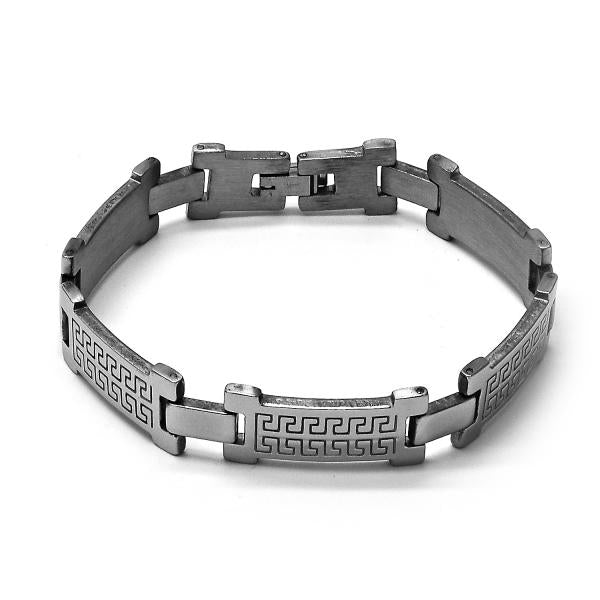 Stainless Steel 03.63.1490.08 Solid Bracelet, Greek Key Design, Polished Finish, Steel Tone