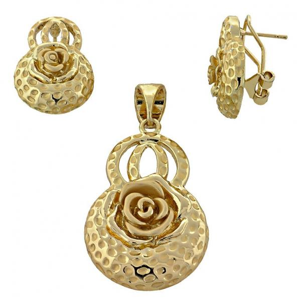 Gold Layered 10.91.0297 Earring and Pendant Adult Set, Flower Design, Matte Finish, Golden Tone