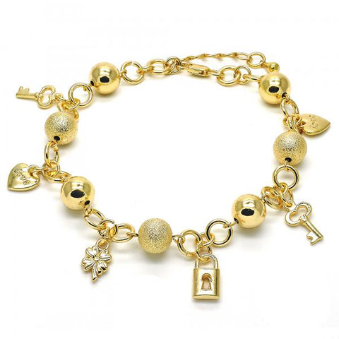 Gold Layered 03.179.0051.10 Charm Anklet , key and Heart Design, Matte Finish, Golden Tone