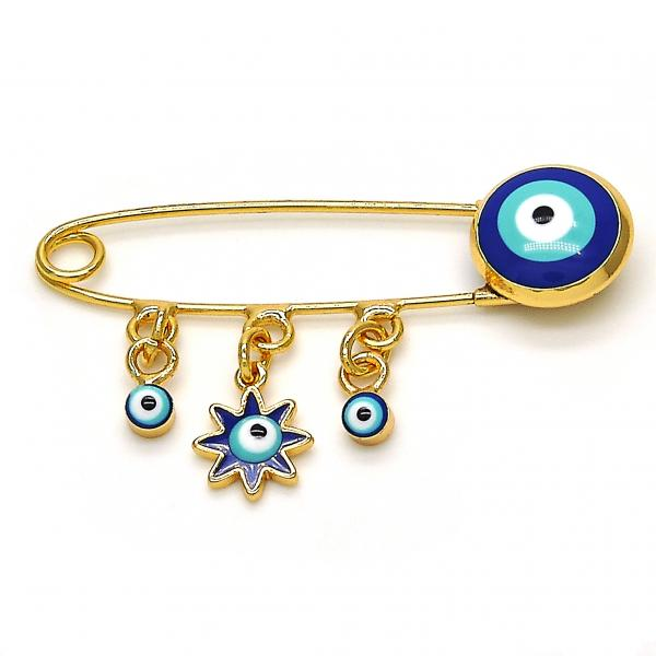 Gold Layered 13.60.0001 Basic Brooche, Greek Eye Design, Blue Enamel Finish, Golden Tone