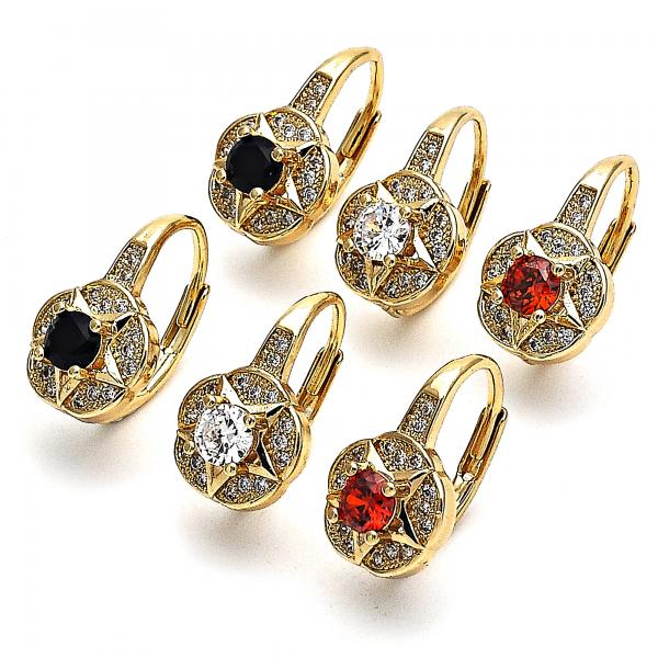 Gold Layered Leverback Earring, Star and Flower Design, with Cubic Zirconia and Micro Pave, Golden Tone