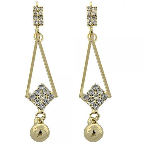 Gold Layered 5.099.012 Long Earring, Ball Design, with White Cubic Zirconia, Polished Finish, Golden Tone