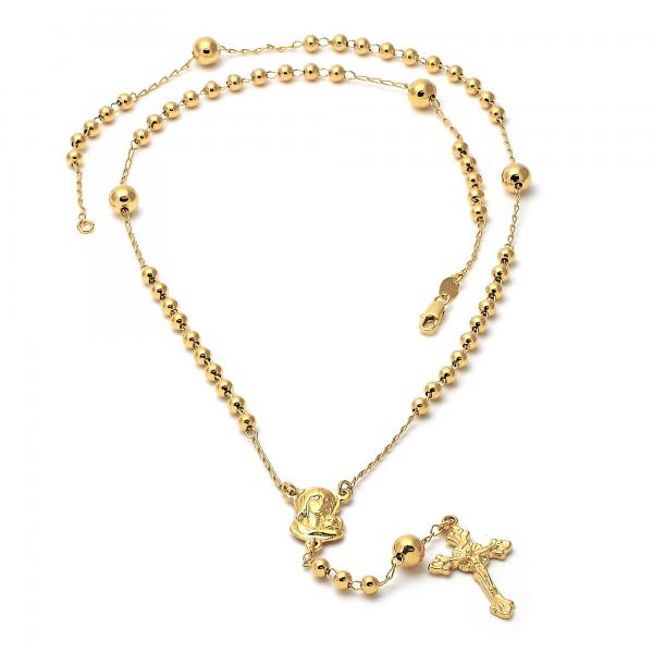 Gold Layered 5.211.004 Medium Rosary, Sagrado Corazon de Maria and Crucifix Design, Polished Finish, Golden Tone
