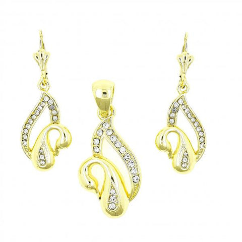 Gold Layered 10.160.0047 Earring and Pendant Adult Set, Swan Design, with White Crystal, Polished Finish, Golden Tone