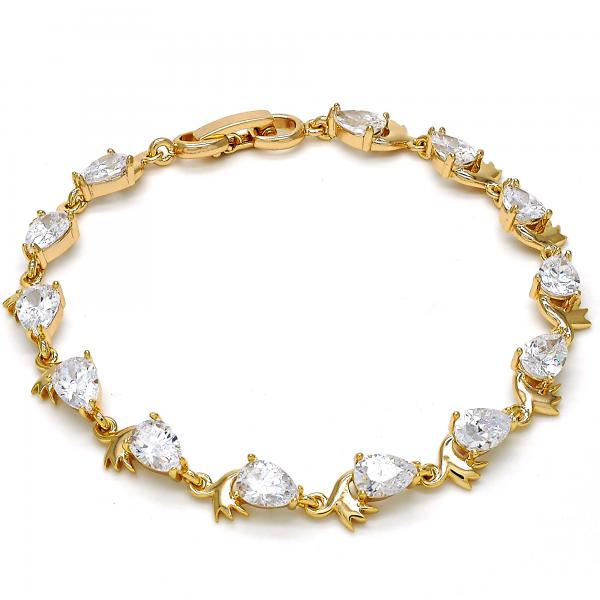 Gold Layered 03.213.0038.08 Tennis Bracelet, Teardrop Design, with White Cubic Zirconia, Polished Finish, Golden Tone