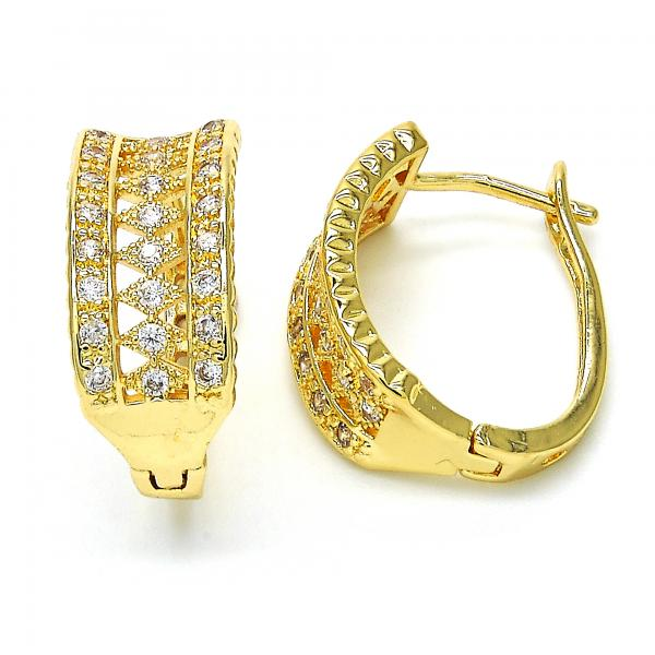 Gold Layered 02.260.0018.20 Huggie Hoop, with White Cubic Zirconia, Polished Finish, Golden Tone